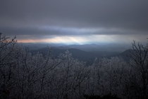 Sun through the clouds off the Appalachian trail Georgia Nov