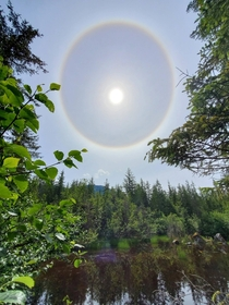Sunbow over a small pond near Mendenhall Juneau AK