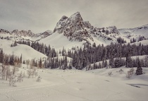 Sundial Peak and Lake Blanche frozen Big Cottonwood Canyon Utah