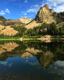 Sundial Peak reflected in Lake Blanch Wasatch Mountains UT