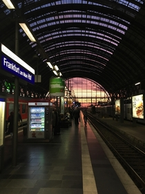 Sundown at the train central station in Frankfurt Germany