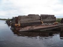 Sunken barge in the harbor of Superior Wisconsin