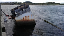 Sunken Boat in Irvine Harbour