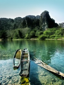 Sunken Boats on the Nam Song River