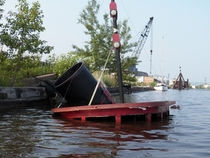 Sunken tugboat in the harbor of Duluth Minnesota