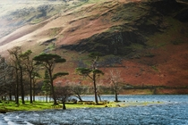 Sunlight catches the shoulder of High Crag and the shore of Buttermere below on a windy day Lake District England UK