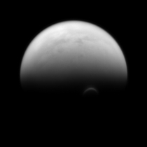 Sunlit Edge of Saturns Largest Moon Titan