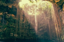 Sunrays shining into Cenote Ik kil Tinm Mexico near Chichen Itza x