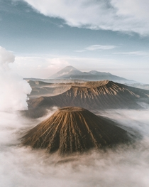 Sunrise above the clouds in the Tengger Massif of Bromo Tengger Semeru National Park East Java Indonesia