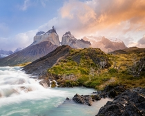 Sunrise after a rainy blue hour Torres Del Paine National Park Chile  justkeatingphoto