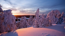 Sunrise after heavy snowfall