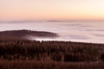Sunrise and Fog over the city from a mountain next to Kassel Germany