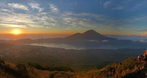 Sunrise and Mt Agung about a week before Mt Agung erupted in June  taken from Mt Batur Bali Indonesia