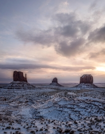 Sunrise at a Snow Covered Monument Valley  IG seanhew