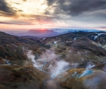 Sunrise at  am in July in the highlands in Iceland in a geothermal active area  - more of my landscapes at insta glacionaut