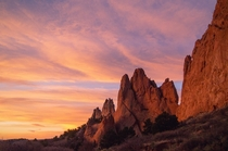 Sunrise at Garden of the Gods in Colorado Springs CO