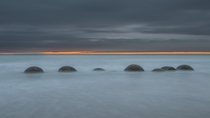 Sunrise at Moeraki Boulders New Zealand
