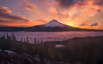 Sunrise at Mount Hood OR from the Tom Dick and Harry Viewpoint  by Vinci Palad