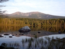 Sunrise at Sandy Brook Pond looking north towards Hamlin Peak Baxter State Park Maine