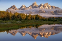 Sunrise at Schwabachers Landing Grand Teton National Park Wyoming  by Chuck Zamites