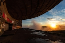 Sunrise at the abandoned Buzludzha Monument in Bulgaria People usually photograph it from the approaching stairs but I was attempting to capture something hopefully more unique chrisluckhardt