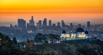 Sunrise at the famous Griffith Observatory in Los Angeles