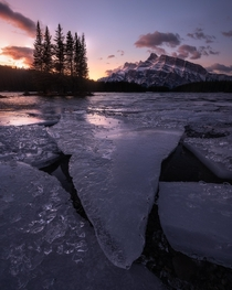 Sunrise at Two Jack Lake in Banff National Park Canada  seanhphotography