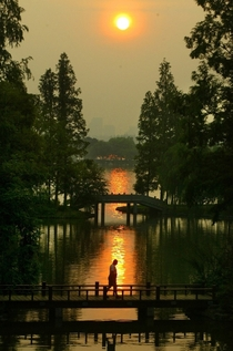 Sunrise at West Lake Hangzhou China