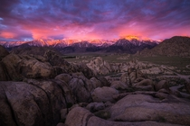 Sunrise below Mt Whitney in the Alabama Hills