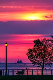 Sunrise from a local park along the Detroit River in Windsor Ontario Canada