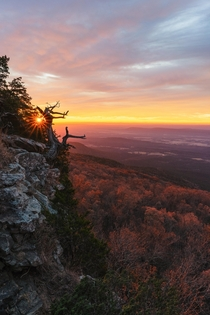 Sunrise from Arkansas tallest point Mount Magazine