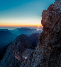 Sunrise from atop the Zugspitze Germany