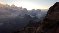 Sunrise from the highest point in Germany the Zugspitze