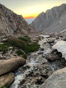 Sunrise halfway up Mt Whitney just outside of Lone Pine CA