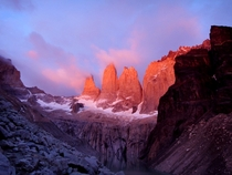 Sunrise hitting the famous Torres del Paine in Patagonia Not sure my little point amp shoot did this place justice