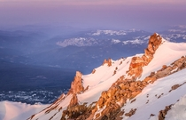 Sunrise hitting Thumb Rock on Mount Shasta California