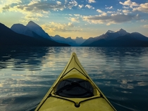 Sunrise in a Kayak on Lake Maligne Jasper National Park CA Shot with my iPhone