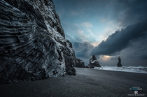 Sunrise In Iceland The beach of Reynisfjara and the walls of towering Reynisfjall are a true display of how bizarre and fascinating volcanic rocks formations can be writes photographer Lorenzo Riva
