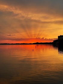 Sunrise in Lake Mendota at Madison WI