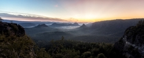 Sunrise in Saxon Switzerland Germany