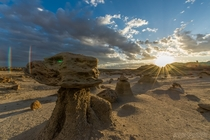 Sunrise in the Bisti Badlands New Mexico  OC
