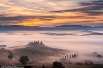 Sunrise in Val dOrcia Tuscany Photo by Alessio Andreani