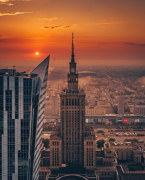 Sunrise in Warsaw Poland