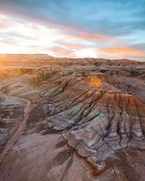 Sunrise lighting up otherworldy badlands in Northern Arizona