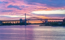 Sunrise Near Robert F Kennedy and Hell Gate Bridges in NYC
