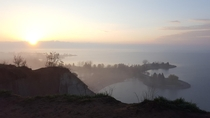 Sunrise on a foggy morning over the Scarborough Bluffs amp Lake Ontario east Toronto
