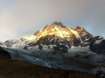 Sunrise on Annapurna South Nepal Himalayas Part of the Annapurna Massif over m high Taken from Annapurna Base Camp Oct