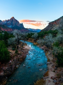 Sunrise on another planet just a quiet Tuesday morning Zion National Park Utah USA  by hansiphoto