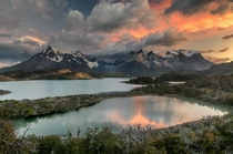 Sunrise on Cuernos del Paine and Lake Pehoe Chilean Patagonia