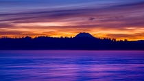 Sunrise on the Nisqually Delta shadowed by Mt Rainier Olympia WA